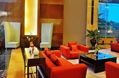 Nice Atmosphere at Lobby #lobby #hotel #travel #red #gold #5starhotel Semarang, 5 Star Hotels, Red Gold, Tower, Chair, Nice, Travel, Furniture, Home Decor