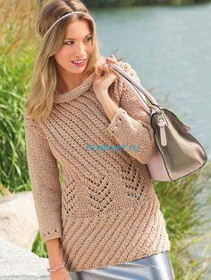 Вязание пуловера с диагональными узорами http://hitsovet.ru/vyazanie-pulovera-s-diagonalnymi-uzorami/