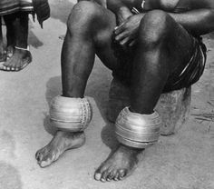 Africa | Details of the anklets worn by a Baule woman in the Ivory Coast | ca…