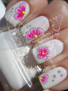 Nail Art Pink Flower with glitter Water Decals by SWNails on Etsy