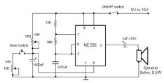 Este circuito produz um som semelhante a uma sirene de fábrica, ela faz uso de um temporizador 555 utilizado como um multivibrador astável com uma frequência central de cerca de 300Hz.