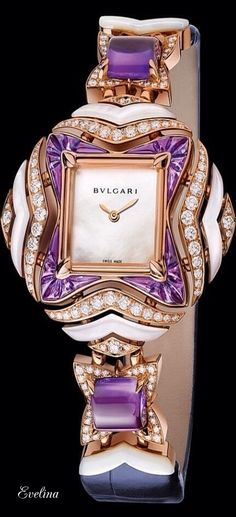 *** Wild deals on beautiful jewelry at http://jewelrydealsnow.com/?a=jewelry_deals *** Bvlgari ~ Giardini Italiani Collection Exquisite Amethyst + Diamond Timepiece
