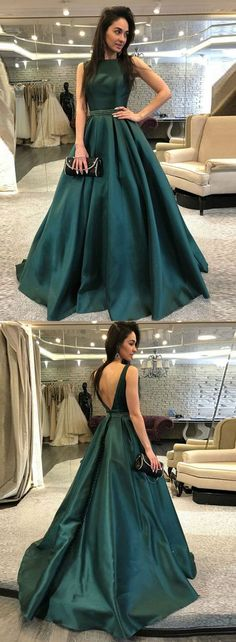 A-Line Prom Dress,Backless Prom Dresses,Dark Green Prom Dress with Beading,Satin Prom Gown,Long Prom Dresses Senior Prom Dresses, Backless Prom Dresses, A Line Prom Dresses, Cheap Prom Dresses, Prom Gowns, Backless Gown, Green Evening Dress, Formal Evening Dresses, Elegant Dresses