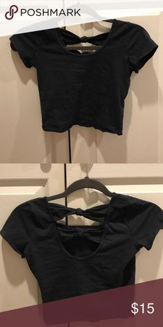 Blue crop top The back is so cute! Goes really well with skirts, jeans, flowy pants and literally everything else!! Abercrombie & Fitch Tops Crop Tops