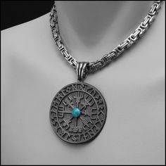 Large Viking Compass with Earth Stone on Stainless Steel Byzantine Chain - Gift Boxed Necklace Sizes, Necklace Lengths, Mens Celtic Cross Necklace, Viking Braids, Viking Symbols, Pewter Metal, Ancient Artifacts, Stainless Steel Chain, Byzantine