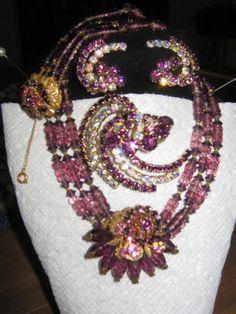 Miriam Haskell Gorgeous Shades of Purple Signed | eBay