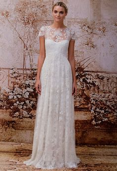 Monique Lhuillier Fall 2014 Wedding Dress with gorgeous floral lace detail #weddingdress #dress #bride #weddinggown #wedding