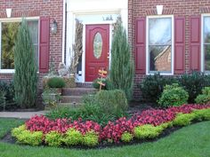 Beautiful! Love how the flowers bring out the red in the doors