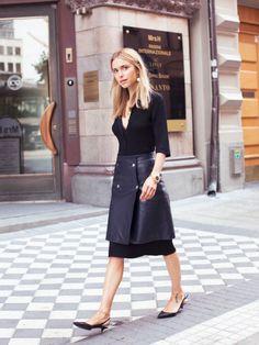 Knitted dress from House of Dagmar, Leather skirt from Filippa K,  Sling-backs from Tabitha Simmons
