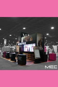 Make your next exhibit pop like Morphe's did at the 2019 Ulta Beauty Show Exhibition Stand Design, Exhibition Display, Environmental Graphic Design, Environmental Graphics, Beauty Exhibition, Visual Identity, Identity Branding, Antique Gold Mirror, Display Design