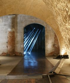 transsolar's dynamic 'lightscapes' installation illuminates the arsenale at venice biennale