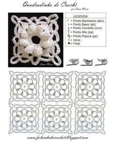 square flower of popcorn crochet… Crochet Motif Patterns, Crochet Blocks, Crochet Diagram, Crochet Chart, Crochet Squares, Thread Crochet, Crochet Doilies, Crochet Flowers, Granny Squares