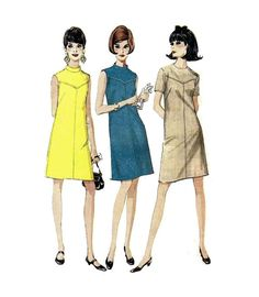 """Mod 60's Style Summer Shift Mini Dress McCall's 9071 Misses Size 14 Bust 36"""" Vintage 1960's Sewing Pattern"""