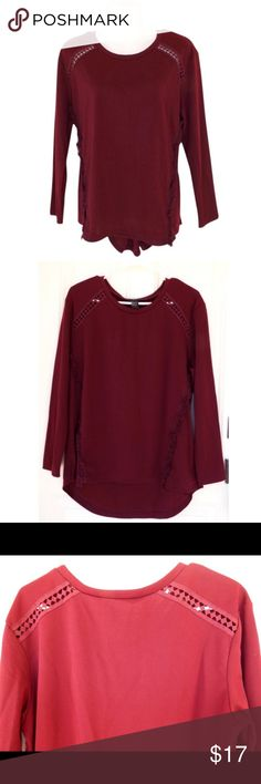 Rain Burgundy Cut Out Fringe Long Sleeve Sweater M Very cute high low sweater by Rain. Comes in burgundy (close ups look red, but it's not) with a cutout pattern along the top sides, and ruffled design vertically along the bottom. Great for fall with leggings or jeans. 100% Cotton. No swaps/trades. Rain Sweaters Crew & Scoop Necks