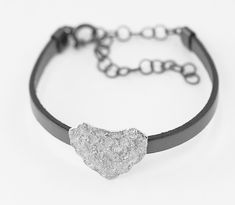 Bracelet, cuir end Sterlingsilver 925, adjustable, Heart Ring, Sterling Silver, Diamond, Bracelets, Rings, Jewelry, Jewlery, Bijoux, Schmuck