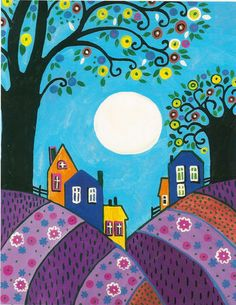 Folk Art Print of Painting RYTA Lavender Hills Trees Abstract Moon Houses Art And Illustration, Art Doodle, Art Beauté, Karla Gerard, Fabric Painting, Painting Tips, Moon Painting, Abstract Paintings, Painting Art