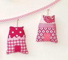 Garland of five little houses-pink-right by Holland Fabric House, via Flickr