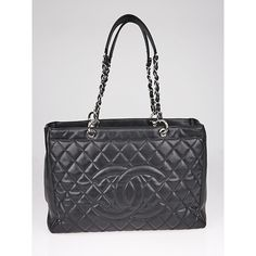 Pre-owned Chanel Black Quilted Caviar Leather Grand XL Shopping Tote... (10.160 RON) ❤ liked on Polyvore featuring bags, handbags, tote bags, embroidered tote bags, chanel tote bag, quilted tote bags, leather handbag tote and leather tote purse