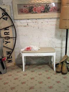 Painted Cottage Chic Shabby White Romantic French Vanity Stool CHR365. $85.00, via Etsy.