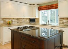 Yellow Backsplash With White Cabinets Beige Cabinet Ornamental Granite Travertine Backsplash