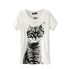 ETOSELL Retro Lady CrewNeck Short Sleeve T-Shirt Cute Cat Print Loose Tops at Amazon Women's Clothing store: