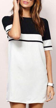 gotta have this black & white striped/color-block shift dress!