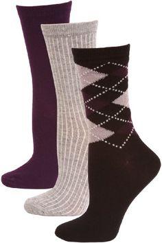 Steve Madden Argyle and Solid Women`s Dress Socks - 3 Pairs - Black/Purple Argyle Light Grey Purple $7.95