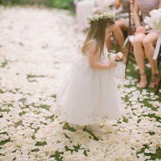 White flower girl gown with flower crown // Elizabeth Messina Photography // http://www.theknot.com/weddings/album/a-romantic-destination-wedding-in-golden-eye-oracabessa-bay-jamaica-131200