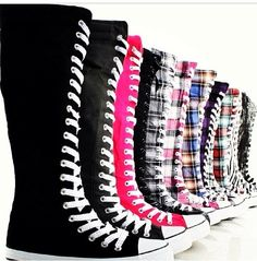 Converse knee high boots (I love the black and red ones)