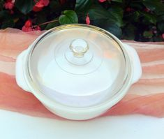 1960's Fire King Milk Glass Casserole - Clear Glass Lid, Great Condition - Vintage - Fabulous! by YPSA on Etsy