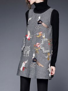 SILK WEI Embroidered Wool Mini dress