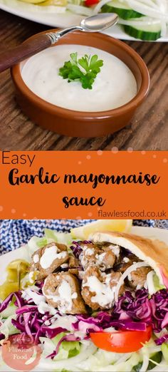 We show you how to make Garlic Mayo Sauce, with this quick and easy homemade recipe. A simple combination of mayonnaise, yoghurt, garlic, lemon and mint jelly (or mint sauce). The perfect creamy dipping or drizzling sauce for so many recipes such as kebabs, pizza, crudites, crisps, chips, meat or fish. Can be made with low-fat yoghurt and mayonnaise if following a low-calorie reduced-fat or healthy diet.
