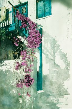 """bougainvillea stairs mykonos (1) 22"""" x 14"""" micheal zarowsky / watercolour on arches paper / private collection"""