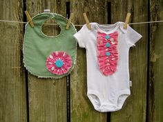 Boutique Ruffle Onesie and Bib Set in Pink and by AudraJoHandmade, $25.00
