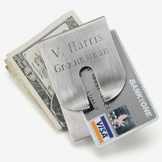 Expandable executive business card case products pinterest commemorate your groomsmens participation in your wedding with an engraved money clip reheart Choice Image