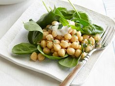 Chickpea and Spinach Salad with Cumin Dressing and Yogurt Sauce #myplate #protein #veggies