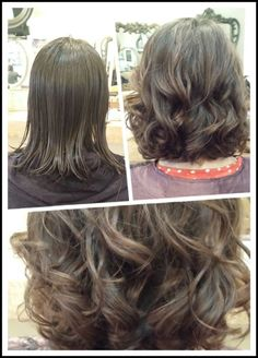 Medium volume digital perm create by four mirrors hairdressing.