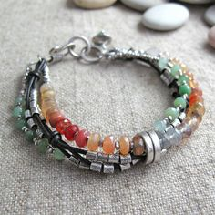 Mexican Fire Opal, Chrysoprase, Fine Silve,r and knotted Leather Bracelet~<3