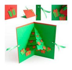 Tarjeta de Navidad hecha a mano  Tutorial para hacer una tarjeta de Navidad. Paso a paso de una postal de Navidad casera, hecha con cartulina. Una manualidad de Navidad divertida y fácil de hacer.