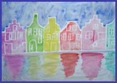 You need: white drawing sheet size white crayons watercolour paint brushes jar with water Dutch canal houses are famous for their facade. Artists For Kids, Art For Kids, Origami Sheets, Cycle 1, Drawing Sheet, Atelier D Art, Student Drawing, School Art Projects, Art Lessons Elementary