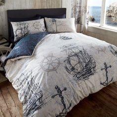 Just Contempo Nautical Duvet Cover Set, King, Blue