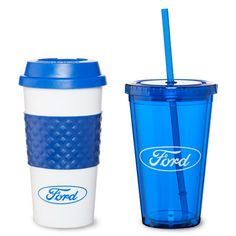 One 16 oz acrylic tumbler with screw-top straw lid for cold drinks, and one 16 oz café-style plastic tumbler with silicone grip and twist-on lid for hot drinks. Plastic Tumblers, Acrylic Tumblers, Simple Gifts, Easy Gifts, Mustang Parts, Ford Girl, Cafe Style, Cold Drinks, Drinkware