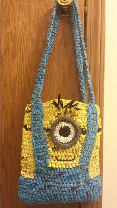 Minion Plarn Tote made from recycled  plastic shopping bags. This one is made with Dollar General bags, and, Baker's IGA bags. Join us on facebook group,  Plarn with me