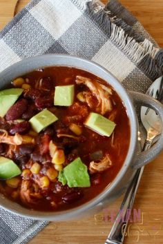 Crockpot Dairy-Free Chicken Taco Soup is the perfect fall dinner for the whole family!