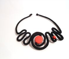 Black crochet necklace fashion statement by vanessahandmade, $42.00