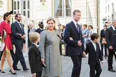 Grand Duc Henri et Grand Duchesse Maria Teresa avec  princes Gabriel et Noah