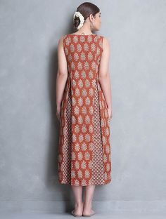 4dd279966faf Buy Online. Buy Madder Off White Black Block Printed Pleated Cotton Dress by  ...