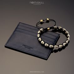 Our NEW Gold & Clear Swarovski Crystal Micro Skull Bracelet features our special hand carved micro skulls. Set with precision cut clear Swarovski crystals, it's the ultimate statement piece | Complement your bracelet with our double sided Black Cowskin Leather Cardholder, a Sleek & Stylish option to have to hand | Available now at Northskull.com [Worldwide Shipping] #Luxury #Jewelry #Mensfashion