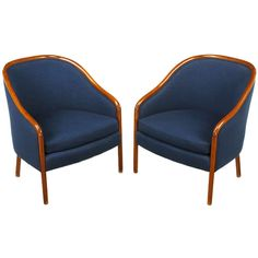 Pair Ward Bennett Walnut and Wool Lounge Chairs | From a unique collection of antique and modern armchairs at http://www.1stdibs.com/furniture/seating/armchairs/