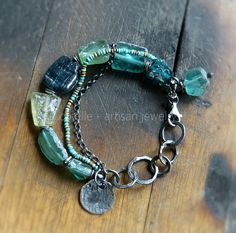 Green Ancient Glass Bracelet and Raw Sterling Silver by COTELLE